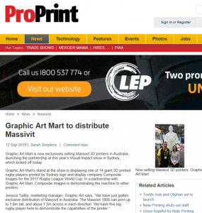 Pro Print Media article Massivit