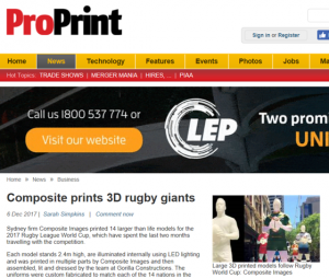 3D Printed Rugby Giants