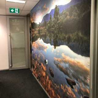Office graphics adding beauty and calm to a hallway