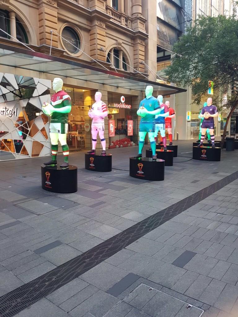 Large 3D prints illuminated in Pitt Street, Sydney