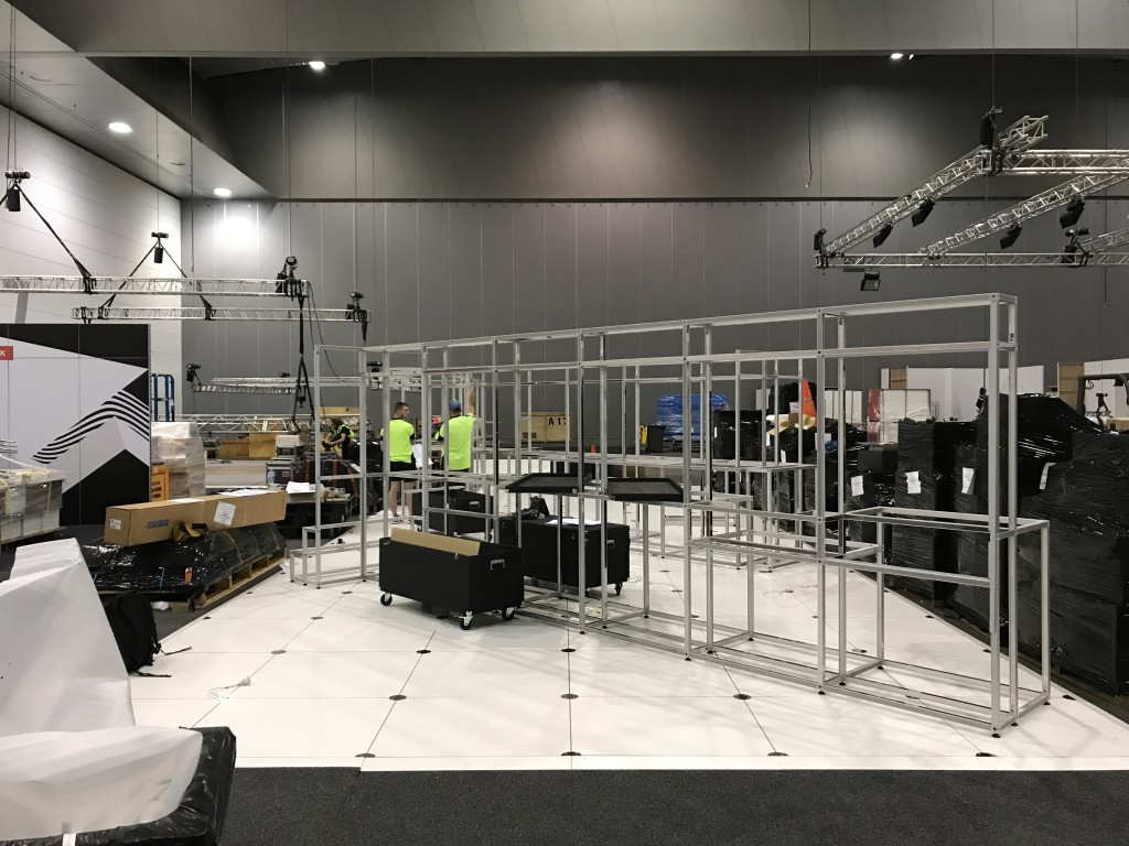 Amber Technology exhibition display being built