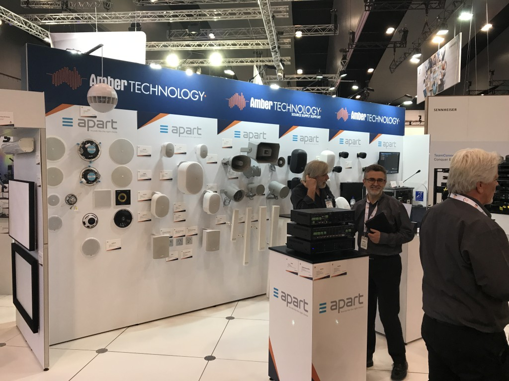 Amber Technology exhibition stand with speakers