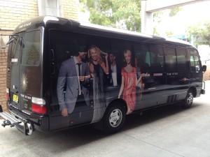 Black bus vinyl wrapped