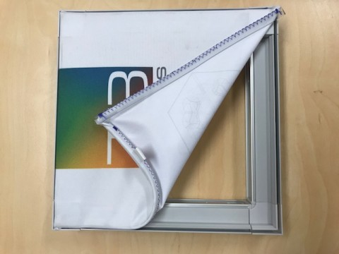 T3 modular display with fabric and silicon beading
