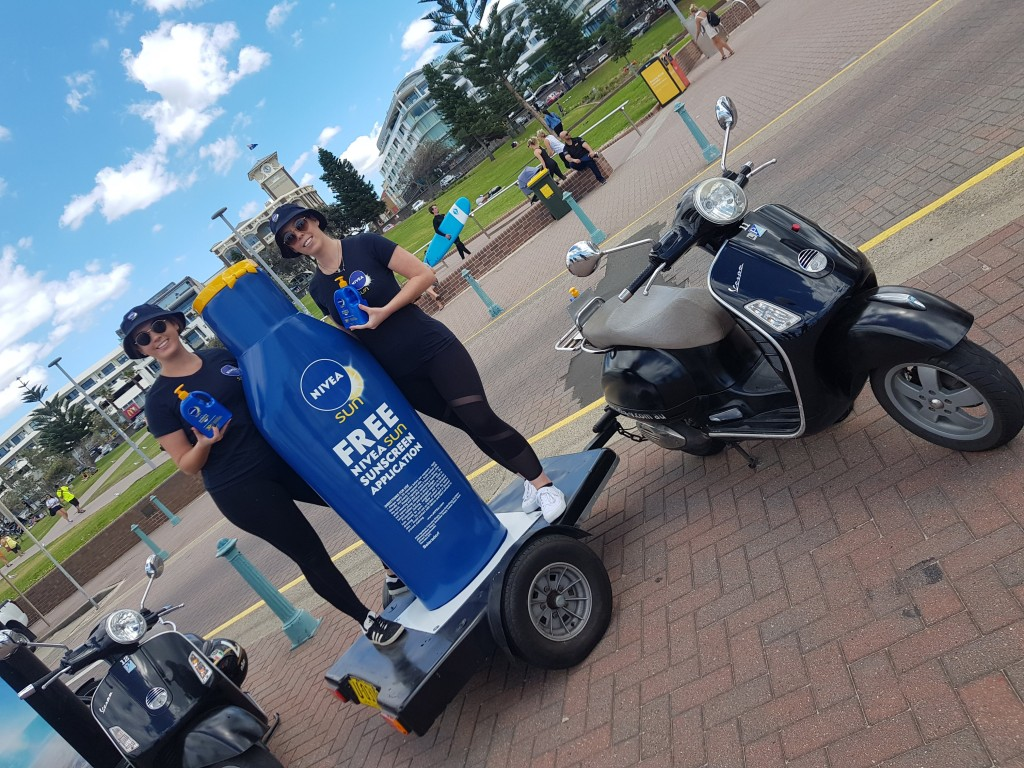 3D Nivea Bottle on Scooter with Girls