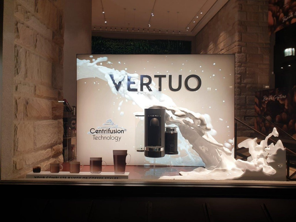 Nespresso Window with 3D Milk Splash