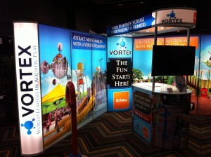 Vortex illuminated T3 modular display exhibition stand